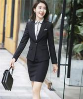 diseño de oficina de traje al por mayor-Diseños de uniformes de oficina Traje de falda de mujer 2017 para mujer de negocios formal formal trajes para mujer Blazer con faldas conjunto de chaqueta