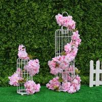 украшения из цветущей вишни оптовых-Искусственные вишни цветок шелковые глицинии виноград сакура цветок винограда висит для свадьбы арка цветы отель ourdoor украшения DIY партии