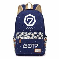 Wholesale kpop bags - WISHOT GOT7 Kpop Canvas bag Flower wave point Rucksacks backpack for teenagers Girls women School Bags travel Shoulder Bag