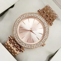 reloj de cuarzo inoxidable diamante al por mayor-2018 Nuevo modelo Moda reloj de las mujeres Con el diamante de acero inoxidable Señora de la marca de lujo reloj de pulsera de mesa Reloj de cuarzo Relojes De Marca Mujer
