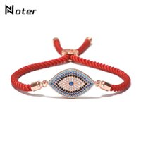 Wholesale red lucky hand - Luxury Evil Eye Micro Crystal Bracelet Red Thread String Turkey Ethnic Braclet For Women Girls Hand Lucky Turkish Jewelry