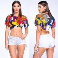 lindas blusas curtas venda por atacado-Malha CropTop de Férias de Verão praia Camisas Bonito Engraçado Impressão Camisa Malha Umbigo Tops Mulheres Sexy Blusa de Manga Curta Top Blusa