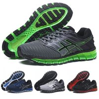 Wholesale discount breathable sneaker men resale online - 2018 New Arrivals Asics GEL QUANTUM II mens Running Shoes Gray green black Breathable Athletics Discount Sport Sneakers Size