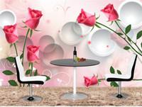pinturas românticas modernas venda por atacado-Grande Sem Costura Romântico Tulipa Mural Pinturas de Fundo Fantásticos Sonhos Modernas Simples Pinturas De Parede TV Sala Mural