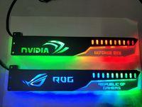 corregir la tarjeta de video al por mayor-5V 3PIN Header RGB Light / Metal Acrílico Soporte para tarjeta Brace GPU Tamaño 280 * 45 * 6mm / Tarjeta de video Fix compatible AURA SYNC