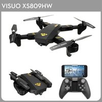 Wholesale drones wifi camera for sale - Group buy VISUO XS809HW Foldable Selfie Drone Wifi FPV MP P FOV Wide Angle HD Camera G Height Hold G Sensor RTF RC Quadcopter