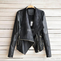Wholesale Womens Clothes Jackets - 2018 PU Leather Jacket Women Clothes Faux Turn-Down Collor Female Jackets Womens Slim Coats Plus Size Feminino Mujer Outerwear