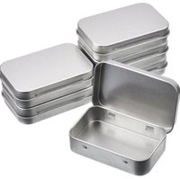 Wholesale mini tins resale online - Tin Container Rectangular Hinged Containers Small Storage Kit Silver Metal Empty Mini Portable Tin Box Craft Containers Home Organizer