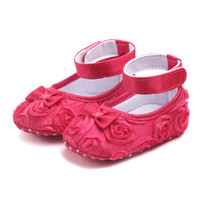 Wholesale baby wedding dresses newborn resale online - Infant Newborn Soft Sweet Baby Shoes Kids Wedding Party Dress Footwear Children Princess First Walker Baby Girl Shoes
