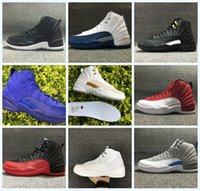 Wholesale Plush Roses 12 - Real carbon fiber 2018 Top quality 12 Rising Sun Gym red Wool PSNY men basketball shoes 12s sports shoes sneakers 36-47