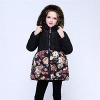 çiçek palto toptan satış-Uzun Kızlar Aşağı Ceketler Kalın Polar Kış Çocuk Mont Hoodies Kıyafetler Çiçek Bebek Kız Dış Giyim Giysi Çocuklar Palto 4-13 Yıl