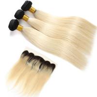 Wholesale wavy closure 1b online - Brazilian Virgin Straight Human Hair Weave B Blonde Bundles With Frontal Ear To Ear Wet Wavy Human Hair Bundles With Frontal Closure