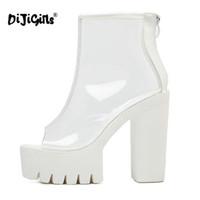 bottes compensées à la cheville achat en gros de-DIJIGIRLS Super Talons Épais Semelles Bas Perspex Clair Transparent Cheville Bottes Plateforme Femelle Anti Slip Bottes Chaussures Décontractées