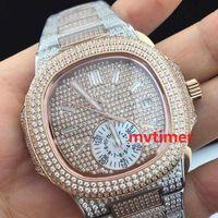 Wholesale Designer Gems - Luxury Brand Automatic Mechanical Rose Gold Diamond Platinum 40mm Nautilus Iced Out Watch Mens aaa designer Wristwatch reloj Watches