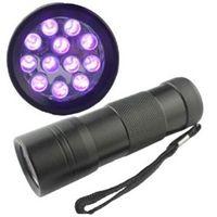 12 luzes led uv venda por atacado-395-400NM Ultra Violeta Luz UV Mini Portátil 12 LED UV Lanterna Tocha Escorpião Detector Localizador de luz Preta UV-12