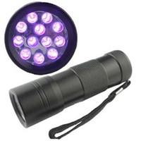 detektorfinder großhandel-395-400NM UV-Licht Mini tragbare 12 LED UV-Taschenlampe Scorpion Detector Finder Schwarzlicht UV-12
