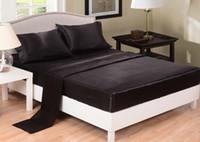 двуспальные кровати оптовых-Простыни с имитацией шелка Однотонная атласная простыня Покрывало на покрывало Twin Полный размер Queen Серый Черный Белый