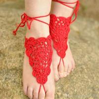 commande de bijoux achat en gros de-Sandales aux pieds nus, crochet, corail rouge, mariage sur la plage, chaussures nude, bijoux de pied, sandales, bracelets gitane, coton dentelle hippie, fabriqué sur commande ..