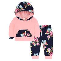 traje deportivo flor al por mayor-2018 otoño muchachas de los cabritos juego de ropa de la camiseta + Pant Traje flor Trajes deporte de las muchachas muchachas del niño sistemas de la ropa del bebé Pijamas Conjuntos