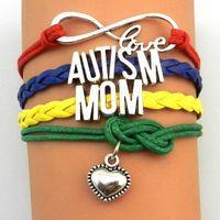 pulseiras de autismo venda por atacado-Personalizado-Infinito Amor Autismo Irmã Nana Avó Tia Pai Mum Pulseira Multicamadas Autismo Consciência Envoltório Pulseiras Vermelho Amarelo Azul Verde