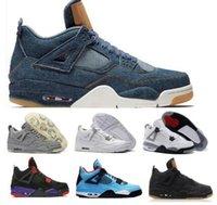 Wholesale buy leather shoe - Buy 4 4s Basketball Shoes Mens Womens IV Blue Cement Kaws Bred Denim Cactus Jack Alternate Eminem 2018 Travis Zapatos Sport Sneaker Shoe