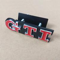 autocollants gti achat en gros de-Styling Metal GTI Logo Front Grill Emblème Badge Sticker Autocollant pour VW Volkswagen Golf 4 6 7 MK6 MK7 MK4 MK5 Polo CC Passat