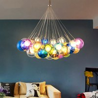 Wholesale gray light switch - Colorful Glass Ball Lamp G4 LED Pendant Lights 110V 220V Creative Design Lighting Fixtures for Home Deco Bar Coffee Living Room