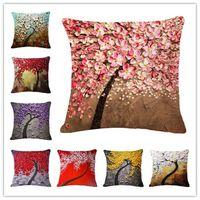 vintage retro pillowcases toptan satış-Yağlıboya Yastık Vintage Çiçek Tarzı Ağacı Desen Minder Örtüsü Soyut resim Dekoratif Retro el-boyalı Yastık 15 Renkler