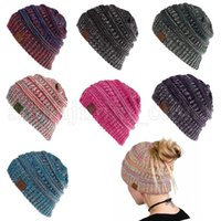 Wholesale cable cycling - CC Knitted Confetti Ponytail Beanie 7 Colors CC Stretch Cable Messy Bun Knit Hat Outdoor Casual Warm Hip Hop Skullies LJJO5262