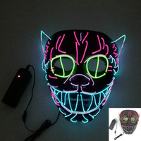 Wholesale birthday masks resale online - LED Halloween Masks Elvis style Party Mask EL Wire Glowing Mask Black Masquerade Birthday Mask Carnival Cosplay Masks HH7