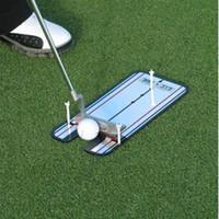 ayudas para la alineación del golf al por mayor-Golf portátil Putting Alineación de espejos Ayuda de entrenamiento Swing Trainer Línea de entrenamiento de entrenamiento de golf Golf Swing Straight Practice Tool