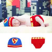 детские наборы супермен оптовых-Новорожденный Супермен костюм для фотосессии вязаная Детская шапочка и набор подгузников фотография реквизит детский душ подарок