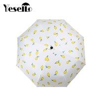 limon damlası toptan satış-Şemsiye Streç Drop Shipping Yesello Limon Şemsiye Üç katlanır Rüzgar Geçirmez Yağmur Şemsiye Pongee