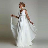 dccac4476ef Vestido de noiva Greek Maternity Wedding Dresses 2017 Simple Plus Size  Chiffon Grecian Beach Wedding Gowns Empire Bridal Dress