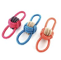 Wholesale dog ball rope toys - Cotton Rope Dog Chew Toy Ball Pet Palying Knot Puppy Dog Chew Toy Teeth Cleaning Toys Ball Pet Dogs Toy OOA4706