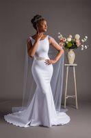 marfim peixe vestidos de noiva venda por atacado-2018 o Mais Recente Marfim africano fishtail vestido de noiva com capa Sereia Vestido de Noiva Com Caixilhos de Cristal Sweep Trem Vestidos de Noiva