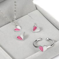 Wholesale clavicle ring - Small fresh and sweet ice cream silver earrings Clavicle necklace Simple handmade ring white gold love heart jewelry set for woman