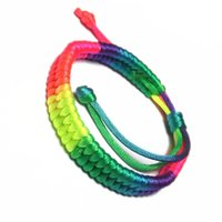 bracelete de corda vermelha venda por atacado-Étnico Vento Cinco Cores Fengwei Nó Este Ano Pulseira Corda Vermelha WCX001