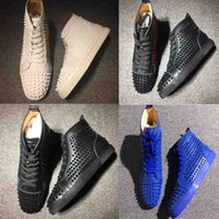 Wholesale rubber full sole - Hot Sale Red Bottom Studded Men Shoes,Full Spikes Black Blue White High Cut Geunine Leather Red Sole Flat Men's Sneakers Trainer Wholesale