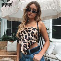 abffdbc069 Gagaopt Preorder Crop Top Leopard trägerlosen Top Bandeau Bra Boob Rohr Weste  Crop Sexy Lady