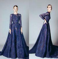 Wholesale Ellie Saab Prom - 2018 Ellie Saab Evening Dresses Baby Blue Ruffles Beaded Appliques Lace Prom Dress Long Sleeves Dubai Arabic Evening Gowns Vestidos