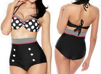 bauch bedeckt bikini großhandel-reizvolle Art und Weisebadebekleidungs-Frauenart und weise Der neue europäische Retro- Badeanzug-Abdeckungsbauch hängende Halstaille Doppelwellenbadebekleidung Bikinis