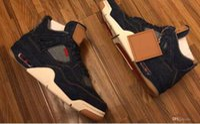 Wholesale High Quality Leather Shoes - Retro 4 Denim Blue Jeans Travis Basketball Shoes Men retro 4s Denim LS Blue Jeans Sports Shoes Sneakers High Quality With Box