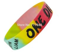 Wholesale one direction wristbands resale online - 1pc black Hippie Tie Dye One Direction D wristband silicone bracelets