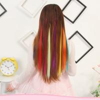 clip de extensiones de cabello ombre 24 al por mayor-24 colores 50 cm de un solo clip en una pieza Extensiones de cabello sintético largo recto Ombre Gris Rubio Rojo Piezas de cabello Los más vendidos