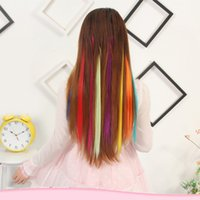ingrosso migliori estensioni dei capelli lunghi-24 colori 50CM singola clip in un pezzo di capelli estensioni sintetiche lungo rettilineo grigio grigio biondo capelli rossi pezzi più venduti
