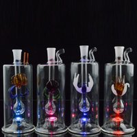 Wholesale inch hose resale online - 5 quot inch Mini Dab Rig LED Bong Water Pipes Oil Rigs Durable Glass Hookahs Bong with Hose Pot Bowl Bubbler Thickness with Multi colors