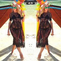 traje de baño de encaje negro al por mayor-Black Sheer Sexy Beach Cover Up cubierta de malla bordada de encaje Ups traje de baño de manga corta Cover Up Summer Dress Beach Wear para mujeres