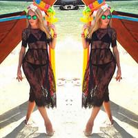vestido de encaje bordado mangas al por mayor-Black Sheer Sexy Beach Cover Up cubierta de malla bordada de encaje Ups traje de baño de manga corta Cover Up Summer Dress Beach Wear para mujeres