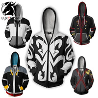 Wholesale sora cosplay online - Anime Kingdom Hearts Sora Cosplay Hoodies Costume Men Women Sweatshirt Xemnas Zipper Coat Spring Jackets Luxtees